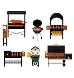 Barbecue grill with food isolated set vector