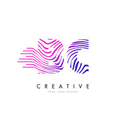 bc b c zebra lines letter logo design with vector image