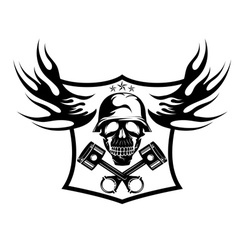 Bikers theme emblem with skullflames and pistons vector