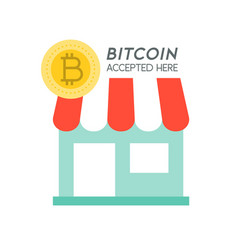 bitcoin accepted here cryptocurrency icon vector image