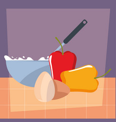 bowl pepper and eggs preparation cooking vector image