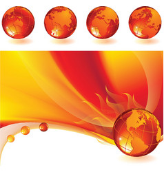 burning globe vector image