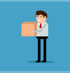 businessman is carrying a box vector image