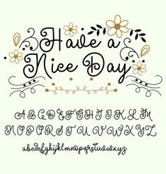 calligraphy tattoo alphabet english script vector image