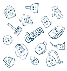 Cartoon items for clean up vector