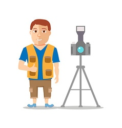 Cartoon Photographer Men Character isolated on vector