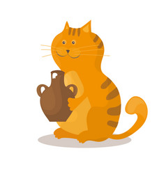 cat eats sour cream from a ceramic bowl on white vector image