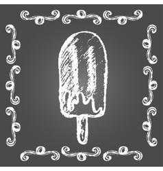 Chalk ice cream chocolate popsicle vector