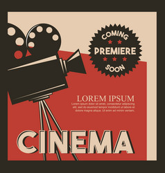 Cinema poster retro style camera film premiere vector