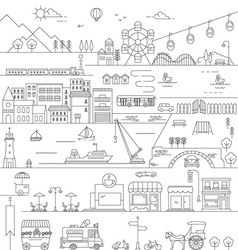 CITY IN LINE ART FLAT ICONS STYLE vector image