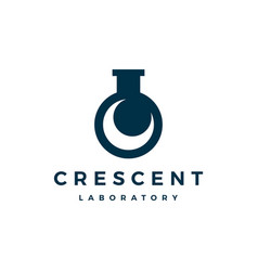 Crescent moon laboratory labs logo icon vector