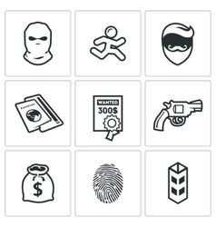 Criminal on run and wanted icons set vector