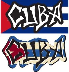 cuba word graffiti different style vector image