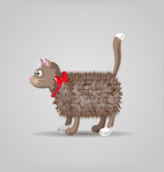 cute funny cartoon fluffy cat with a red bow vector image