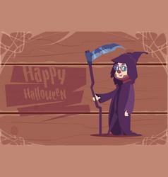Cute kid wear death costume happy halloween vector