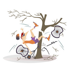 Cyclist smashed into a tree isolated vector