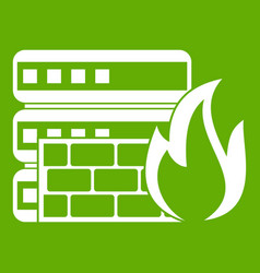 Database and firewall icon green vector