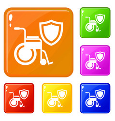 disability protection icons set color vector image