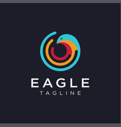 Eagle and network wireless signal wave logo vector
