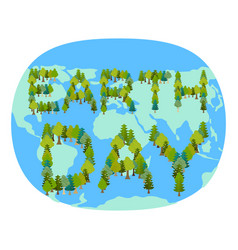 Earth day planet and forest trees and typography vector