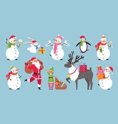 flat cartoon christmas characters merry holiday vector image
