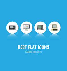 Flat icon computer set of computer display vector