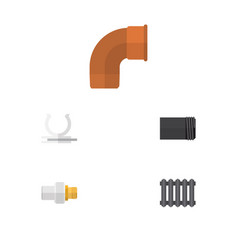 Flat icon pipeline set of heater conduit iron vector