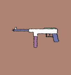 Flat shading style icon military machine gun vector