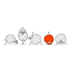 flock of sheeps sketch for your design vector image