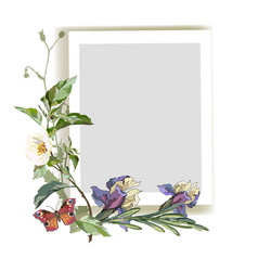 Frame with iris flowers vector