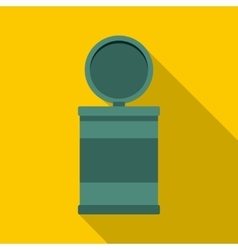 Garbage bin with opening lid icon flat style vector
