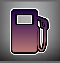 Gas pump sign violet gradient icon with vector