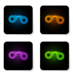 glowing neon handcuffs icon isolated on white vector image