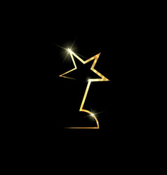 Gold star award concept isolated on black vector