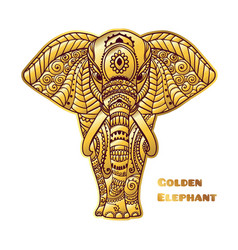 golden elephant ornamental card vector image