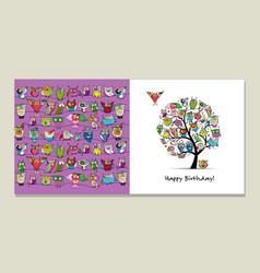 Greeting card design funny owls tree vector
