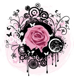 Grunge rose abstract vector