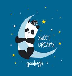 hand drawing panda and night icons vector image