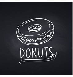 hand drawn donut on chalkboard vector image