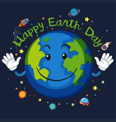happy earth day space concept vector image