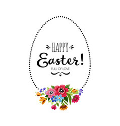 Happy easter with egg frame ettering vector