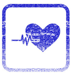 Heart pulse framed textured icon vector