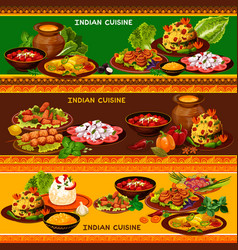 indian cuisine restaurant banner with asian menu vector image