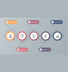 infographic timeline template with 5 options can vector image
