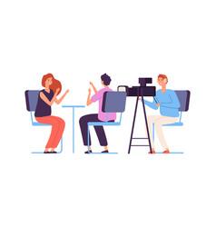 Interview live stream tv show camera crew vector