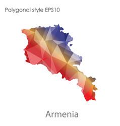 Isolated icon armenia map polygonal geometric vector