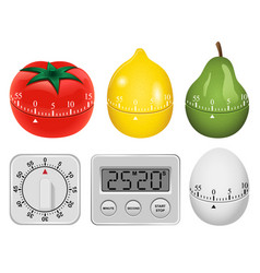 Kitchen timer mockup set realistic style vector