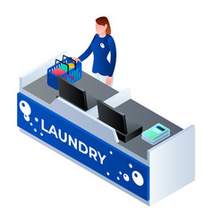 laundry cashier woman icon isometric style vector image