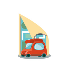 little delivery car with paper map vector image