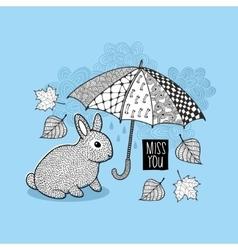Little rabbit and autumn rain vector image